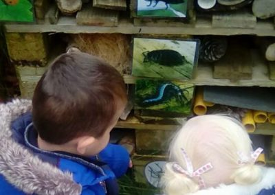 Children learning about bugs
