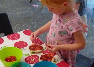 Making sandwiches at Lilliput Nursery School