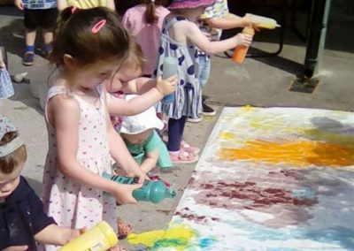 Children playing with paint and making picture
